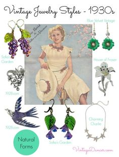 1930s jewelry designs drew inspiration from the natural world - flowers, feathers, birds and fruits were all popular themes. Shop VintageDancer.com/1930s