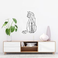 Minimalist Home Deco Removable Wall Decals, Wall Decal Sticker, Wall Stickers, Wand Tattoo, Cat Wall, Cushions, Pillows, Minimalist Home, Scandinavian Style