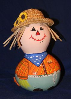 Painted Scarecrow Gourd. $25.00 USD, via Etsy.