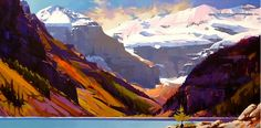 """An August Day, Lake Louise, 24""""x48"""", Mike Svob"""