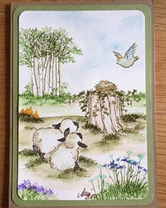 Art Impressions Wonderful Watercolor.  Handmade water color card with sheep, wood stump, bird, grass, flowers, trees.