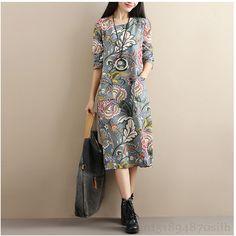 2018 New Vintage Ethnic style Spring Autumn Cotton Line Dress Women Casual Print Loose Long Vestidos Femininas Dresses Z223. Yesterday's price: US $38.20 (31.57 EUR). Today's price: US $20.63 (17.02 EUR). Discount: 46%.