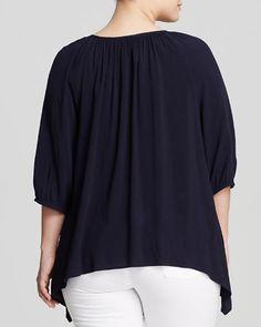 Karen Kane Plus Size Navy Blue Embroidered Peasant Blouse | Bloomingdale's #Karen_Kane #Plus #Size #Fashion #Embroidered #Peasant #Blouse #Peasant_Tops #Red #Navy #Blue #White #Red_White_Blue #Plus_Size_Fashion #Bloomingdales