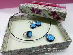 Handmade Quilling Paper Jewelry - Dark Blue Lollipops.  Sets come with ring, earrings & a pendant.