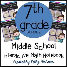Are you ready to use the BEST interactive notebook? Math activities that engage all learners. Students take pride in their notebooks and learn all 7th grade math concepts. Download your seventh grade interactive math notebook today! Math Worksheets, Math Activities, Teaching Resources, Math Lesson Plans, 7th Grade Math, Secondary Math, Middle School Classroom, Math Notebooks, Common Core Standards
