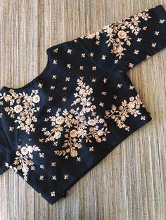 Black raw silk floral design hand zardosi work Designer wedding saree lehenga blouses To inquire whatsapp 918888328116 or ethnicdiagmailcom Sari Blouse Designs, Blouse Patterns, Blouse Styles, Work Blouse, Blouse Dress, Saree Blouse, Frock Dress, White Shirts Women, Blouses For Women