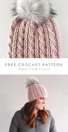 Free Crochet Pattern - Crochet Cable Twist Hat by Daisy Farm Crafts! Crochet Adult Hat, Bonnet Crochet, Crochet Beanie Pattern, Knit Or Crochet, Crochet Gifts, Crochet Winter, Crochet Patterns, Crochet Stitches, Crochet Cable Stitch