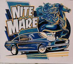 Adult Unisex T Shirt Nite Mare Pony Car Hot Rod Custom