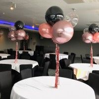 Rose Gold And Black Balloon Table Centrepieces Rose Gold Party
