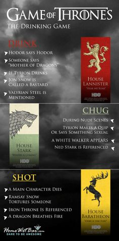 Drink Of Thrones - A Game of Thrones Drinking Game - Liquor is coming. A Game of Thrones Drinking Game Game Of Thrones Drink, Game Of Thrones Party, Game Thrones, Fun Games, Party Games, Beer Games, Jenga, Game Of Thrones Premiere, Got Party