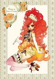 Sakizo, Girl meets Sweets - Mousse au fraise à l'orange Manga Illustration, Illustrations, Artist Loft, Fairytale Fantasies, Beautiful Anime Girl, Kawaii, Japanese Artists, Cosplay, Pretty Art