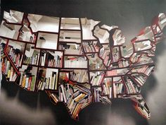 A beautifully designed and patriotic bookcase from Ron Arad. Specs: 'Oh, the farmer and the cowman should be friends', Ron Arad 2009 Corten and Creative Bookshelves, Modern Bookshelf, Bookshelf Design, Bookshelf Ideas, Tree Bookshelf, Bookshelf Organization, Bookshelf Inspiration, Bookcase Plans, Interior Simple