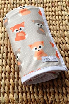 Newborn swaddle / receiving blanket Baby Fox Made to by Pappiyon
