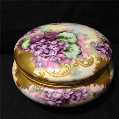 "French Limoges large hand painted gold gilt 8"" powder box with violets Gorgeous"
