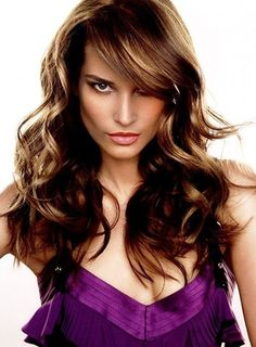 Long lightly layered bangs hair style from 20 feather cut hairstyles.