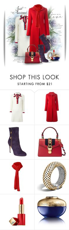 A fashion look from January 2018 featuring gucci dress, red coat and high heel boots. Joan David, John Hardy, Romwe, Gucci, Shoe Bag, Awesome, Polyvore, Stuff To Buy, Shopping