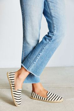 Loafer-style espadrilles printed with nautical stripes.