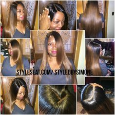 Client had a Full Head Sew-in with a silk base closure provided by my company Allure Couture Hair by FlirtatiouslyFit. * Hair is colored and is 20 inches Brazilian Straight hair * Closure: Silk based closure, 14 inches Brazilian straight