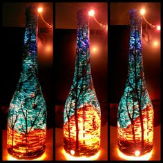 Painted bottle, Hand Painting, Wine bottle