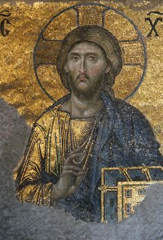 Jesus Christ, a Byzantine mosaic in the interior of Hagia Sophia in Istanbul, Tu. - Ben Pike - - Jesus Christ, a Byzantine mosaic in the interior of Hagia Sophia in Istanbul, Tu. Byzantine Icons, Byzantine Art, Byzantine Mosaics, Religious Icons, Religious Art, Christus Pantokrator, Art Ancien, Jesus Christus, Roman Art