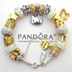 pandora hello kitty charm | Pandora Sterling Silver Charm Bracelet with Hello Kitty Angel Heart ...: