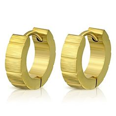 4mm  Gold Color Plated Stainless Steel Satin Finished DiamondCut Hoop Huggie Earrings Pair  MED200 >>> Be sure to check out this awesome product. Note:It is Affiliate Link to Amazon.