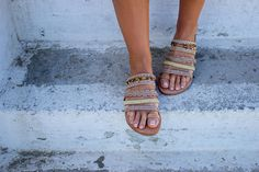 RiRiPoM, Boho Sandals, Ethnic Sandals, Gypsy Sandals, Gold Sandals, Greek Leather Sandals, Pom Pom Sandals, Boho Chic Sandals, ''Calypso''