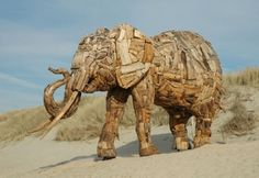 Driftwood elephant by Andries Botha.  Botha lives in Durban, South Africa.  Image by piggy2007b www.flickr.com