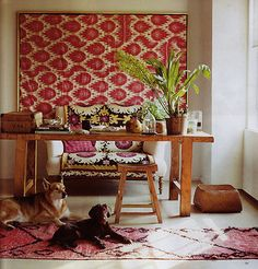 Fabric wall hanging - good for large space to add color and interest.