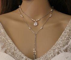 Sautoir écharpe à nouer sautoir de mariée, mariage soirée collier long bijou de dos : Collier par tendancebijoux