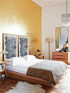 Explore these chic and functional headboard ideas to elevate your bedroom decor. Learn how to create a faux headboard, perfect for small spaces and studio apart Accent Wall Bedroom, Bedroom Decor, Accent Walls, Gold Wallpaper In Bedroom, Wallpaper Headboard, Faux Headboard, Yellow Headboard, Headboard Ideas, Bohemian Headboard