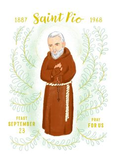 St. Pio of Pietrelcina, or Padre Pio as he was popularly known was a Franciscan friar whose life demonstrated many miracles. He was one of few to experience the stigmata, and heard confessions for many, many hours. He is Illustrated here by our shops designer using techniques that Catholic Beliefs, Churches Of Christ, Catholic Art, Religious Art, Christianity, St Pio Of Pietrelcina, Religious Education, Prayer Cards, Corpus Christi