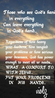 the hands of God is bigger than our needs..