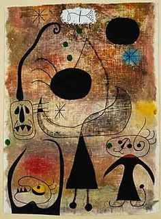 Joan Miró ( Spanish, Barcelona 1893 - 1983 Palma de Mallorca)  Women, Bird, and Snake in Front of the Sun (Femmes, oiseau, et serpent devant le soleil), 1944