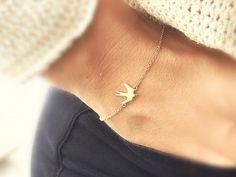 Armbänder - BIRD Mini Vogel Armband Boho Minimalist zart gold - ein Designerstück von SpreeGold-Berlin bei DaWanda