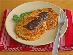 Two-Toned Potato Pancakes (vegan, whole foods ingredients). These make a great alternative to home fries!