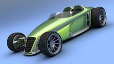 VizualTech's Bo Zolland has created a rendering of his proposed Delithium Concept which hints at what a future green hot rod could look like. Traditional Hot Rod, Wooden Car, Garage Makeover, Bad To The Bone, Us Cars, Automotive Design, 3d Rendering, Custom Cars, Concept Cars