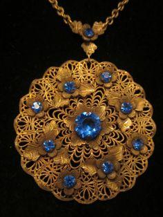 "Antique Victorian 18"" Brass Necklace 3-1/3"" Filigree Blue Rhinestone Pendant A25"