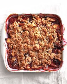 Peach Crumble - Martha Stewart Recipes from July/August 2012 Everyday Food.  Be sure to check out the link for more fruit options (such as blueberry, raspberry, apricot and rhubarb)