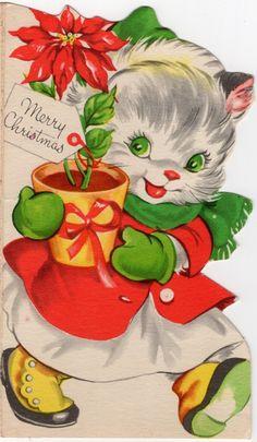 Pretty Kitty Cat Kitten Lady Girl Woman Dress Diecut VTG Christmas Greeting Card | eBay