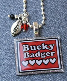 Wisconsin Bucky Badger Necklace with football charm