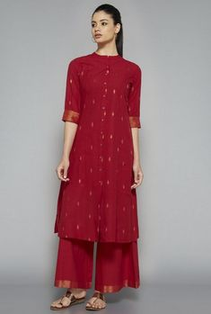 Utsa by Westside Red Solid Palazzo Salwar Designs, Kurti Neck Designs, Kurta Designs Women, Blouse Designs, Pakistani Dresses, Indian Dresses, Indian Outfits, Indian Attire, Indian Wear
