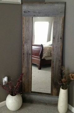 Regular mirror, trimmed with old barn wood