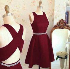 homecoming Dress, Short A line homecoming dress,burgundy homecoming dress,cross back short party dress,cocktail dresses