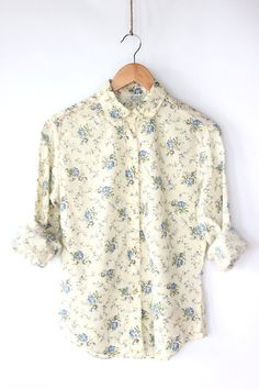 Vintage 70s Cream Spring Floral Shirt - Soft Cotton Button Up Blouse by paisleyfacevintage, $25.00