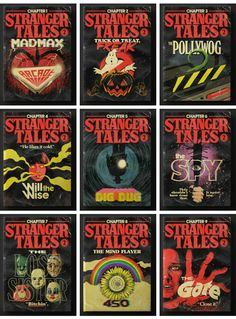 cartoons collage Stranger things fan made book covers. Credit to artist Stranger And Stranger, Stranger Things Actors, Stranger Things Netflix, Stranger Things Season, Best Movie Posters, Cool Posters, Vintage Disney Posters, Strange Tales, 8bit Art