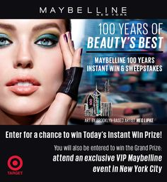 Enter for a chance to win Limited Edition products daily in the Maybelline 100 Years Instant Win Game & Sweepstakes. Plus, one Grand Prize winner will attend an exclusive VIP Maybelline event in New York City. See official rules http://www.maybellinenysweeps.com/html/rules.html. Ends 5/1/15.