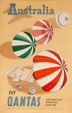 DP Vintage Posters - Australia Fly Qantas Australia's Overseas Airline Original Travel Poster Beach Umbrellas