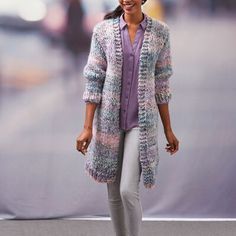 Yarnspirations is the spot to find countless free intermediate knit patterns, including the Red Heart Cozy Long Cardigan. Browse our large free collection of patterns & get crafting today! Knitted Coat Pattern, Long Knit Cardigan, Crochet Cardigan Pattern, Crochet Patterns, Slouchy Sweater, Comfy Sweater, Oversized Cardigan, Knit Crochet, Ladies Cardigan Knitting Patterns