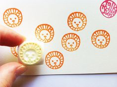 small animal face stamp. hand carved rubber stamp. by talktothesun, $6.00